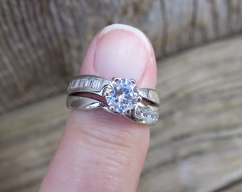 Vintage 925 Sterling Silver and CZ Wedding Ring Set