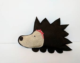 Felt Stuffed Animal Hedgehog - Dark Brown