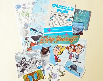 SALE Blue Vintage Paper Ephemera Pack, Collage, Scrapbooking, Smash Books, Journal Supply