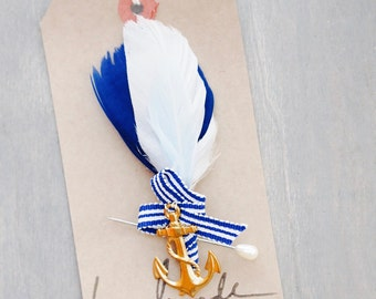 Nautical Feather and Anchor Boutonniere, Buttonhole, Lapel Pin