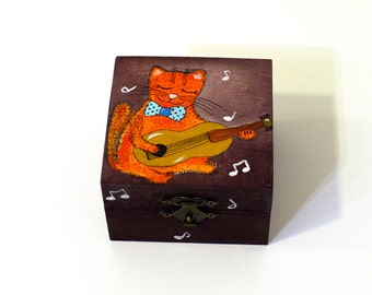 Small funny cat with guitar painting wooden box Animal small box Music art on wood box Orange cat painting box Brown wooden jewelry box