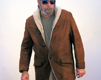 60s Suede Coat, Faux Shearling Coat, Suede Jacket, Suede Winter Coat, Brown Suede Coat, Ranch Coat, Ranchers Coat, Western Coat, L