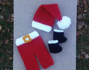Crochet Santa Hat and Pants , baby boy christmas photo prop, newborn santa  hat, crochet christmas hat, newborn outfit christmas, santa hat