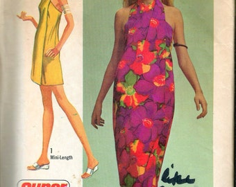 "Vintage 1971 Simplicity 9415 Misses Super Jiffy Cover-Up In Two Lengths Sewing Pattern Size Medium  12-14 Bust 34""-36"""