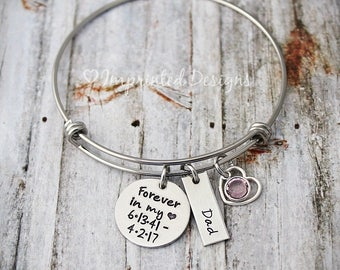 Forever in my heart - Bangle - Charm Bracelet-Memorial Bracelet-In Memory Of Mom-Dad-Grandma-Friend-Child-Loss Of A Loved One- Sympathy Gift
