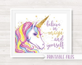 Unicorn Printable Art, Unicorn Art Print, Children's Room Decor, Girl Nursery Art Print, Unicorn Print, Unicorn Art, Unicorn Quote Art Magic