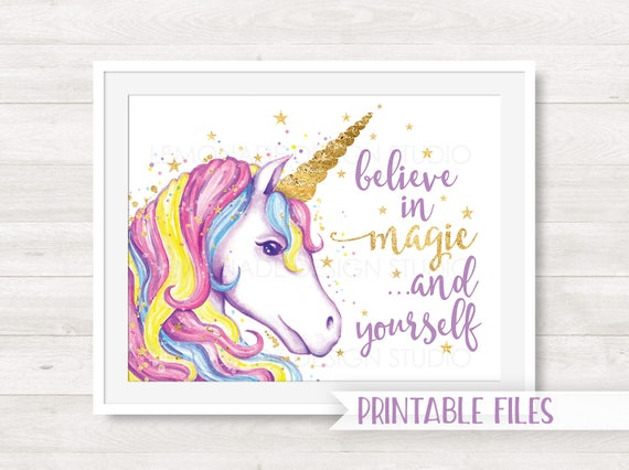 Unicorn printable art unicorn art print children 39 s room for Wall art templates free