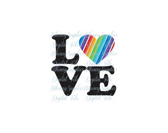 Rainbow Love Digital File Clip Art PNG SVG JPG Pdf Rainbow Heart black letters