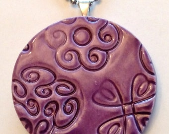 FLORAL DESIGN Pendant / Necklace - Amethyst Art Glaze - Inspirational Art Piece
