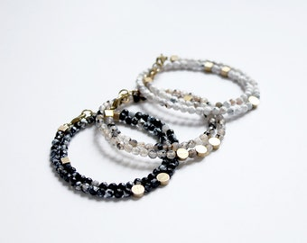 Double wrap bracelet - faceted agate and brass