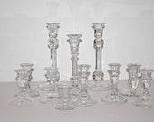 Lot of 11 Crystal Cut Glass Candlestick Holders Bulk Candlestick Holders Wedding Decor