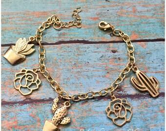 Cactus Succulant Charm Bracelet