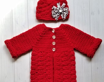 Baby Crochet Set, Crocheted Red Baby Sweater, Baby Crochet Sweater Set, Baby Matinee Set, Crochet Baby Girl Clothes, Red Baby Clothes