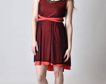 3-in-1 summer dress, coral and black
