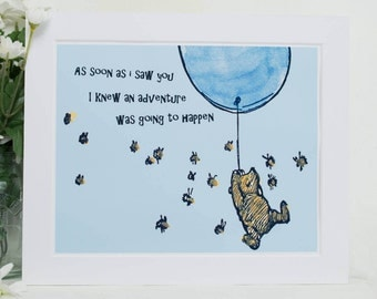 Winnie the Pooh Classic Art Print with Quote, mounted and ready to frame for Pooh bear gift or Winnie the Pooh Nursery