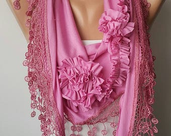 Mothers Day Pink Scarf Lace Scarf Pink Rose Cotton Scarf Fashion Winter Women Fashion Accessories Gift For Her Cyber Monday Mother's Day