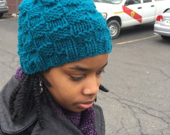 Basket Weave Satin-lined Beanie