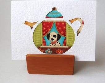 """DALMATION Greeting Card in Teapot cutout shape.  Textured Card.  6"""" x 4"""" with envelope. Blank card.  Spotty dog card."""
