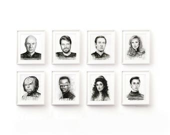 Star Trek TNG Art Print Set Star Trek Wall Art Star Trek Poster Watercolor Portraits Picard Riker Data Beverly Worf Geordi Troi Wesley