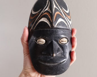 Vintage Carved Wooden Mask with Cowry Shell Eyes