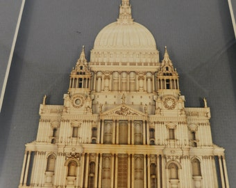 St. Paul's Cathedral London England, Layered Wood Cutting, 3 Dimensional,  Historical, Framed Under Glass