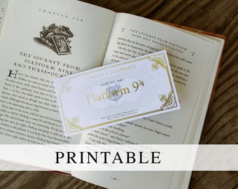 Platform 9 3/4 Ticket Printable Bookmark, Printable Hogwarts Express Ticket, Harry Potter Platform 9 3/4 Ticket, Harry Potter Party Favors