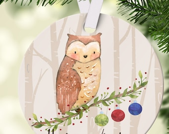 Personalized Christmas Ornament - Woodland Animal Owl - First Christmas Ornament  - Christmas Tree Decoration - Free Gift Box Included