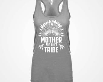 Racerback Mother of the Tribe Womens Adult Cotton Family Mom Parent Racerback Tank Top Anniversary Mother's Day Gift for Her #3273
