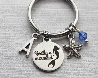 Really A Mermaid Keychain, Mermaid Gifts, Mermaid Jewelry, Mermaid Gift Ideas, Mermaid Keychains, Initial Jewelry, Initial Gifts, Mermaid