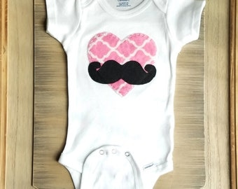 Father's Day Baby, Valentines Heart and Mustache Creeper Bodysuit