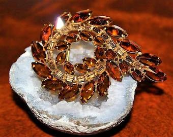 JULIANA Designer Couture High End Dazzling Glitzy Amber Topaz Rare Cut Glass Brooch BU20