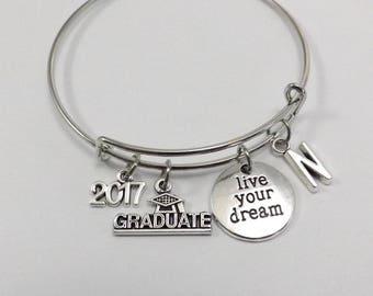 High School Graduation Gift Bracelet, Graduation Gift for Her, High School Grad 2017, Live Your Dream,  Silver Bangle, College Graduation