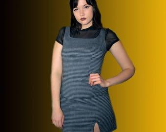 90s Blue and Black Plaid Mini Dress