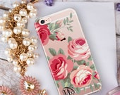 Clear iPhone 7 plus case with design, Floral Iphone 7 case transparent, Xmas Gift for Her Under 25, Hard back with TPU bumpers  (1728)