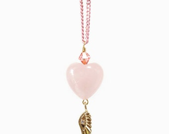 Pink Rose Quartz Love Shape Crystal Necklace with Angel Wing Charm, Love Jewelry