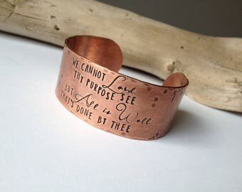 Christian Jewelry Bracelet Bible Verse Jewelry Wide Copper Cuff Anniversary Gift Personalized Hand Stamped Christian Jewelry