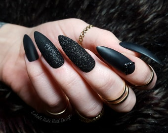 Matte Black x Glitter x Swarovski Fake Press On Nails - Stiletto, Oval, Square, Coffin/Ballerina