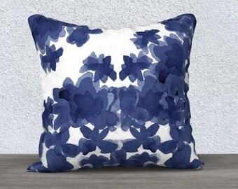 Indigo Pillow Cover, Watercolor Pillow Case, Indigo Pillow Case, Navy Throw Pillow, Indigo Nursery Pillow, Indigo Lumbar Pillow, 14x20 18x18