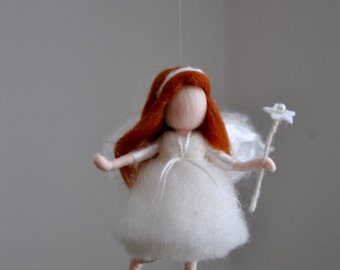 Small White Fairy  Needle Felted wall hanging    :  Fairy with wand
