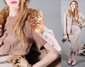 RESERVED Vintage Skirt Suit REAL FUR Exotic Cat Collar Shawl Jacket & Pencil Skirt 40s Classic Hourglass Hollywood Woman's Medium 2 Pc suit