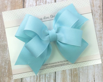 Light Blue Girls Bow - Blue Stacked Bow - Blue Toddler Bow - Classic Hair Bow - Stacked Hair Clip - Hair Bows for Girls - Blue Bow