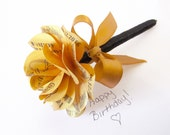 50th Birthday Personalized Birthday Gift or Favor Metallic Gold Paper Rose Flower Pen Customize for Any Birthday or Occasion