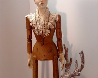 "30""  Inches Tall Santos  cage doll Mannequin and Embellished  with Vintage Style Crown and necklace earring"
