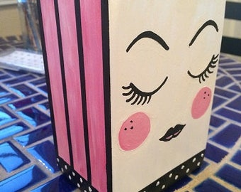 Cute woman's face vase, eyelashes - hand painted, original painting