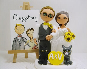 Cute couple with 2 cats  custom wedding cake topper