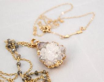 White Druzy Gold Pendant Necklace Arrow Charm Layered Necklace Set