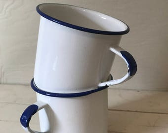 Blue + White Enamel Cups