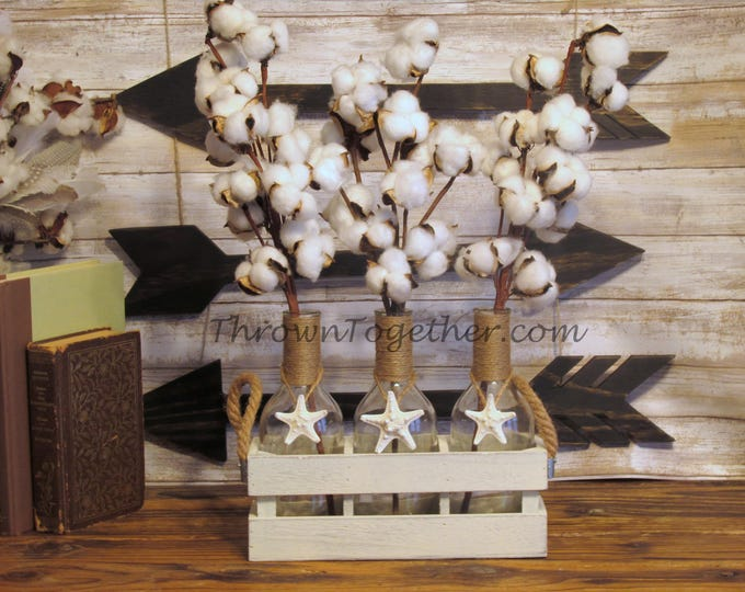 Coastal Beach Decor Cotton Floral Arrangement, Rustic Farmhouse Cotton Centerpiece Arrangement, Farmhouse Table Decor, Cotton Wedding Decor