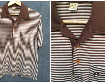 70's Hang Ten Polo Shirt Brown and Tan Striped Vintage Polo Super Soft // Men's Large