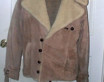 Lee Men's Suede Jacket Coat -Faux Shearling Interior - Size 42 - Dry Clean